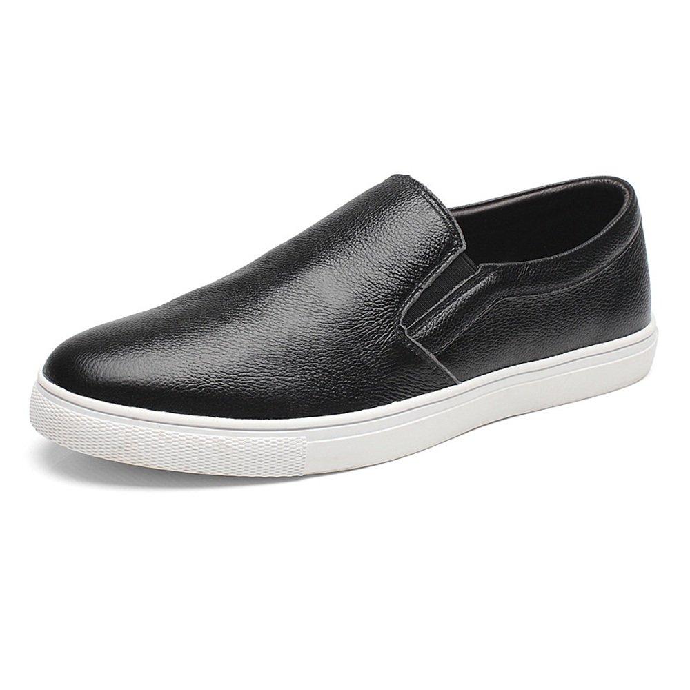Ruanyi Zapatos de los Holgazanes de los Hombres, Cuero Genuino del Zurriago Que Camina Que Camina Slip-on holgazán Plano único para los Caballeros 39 EU|Negro