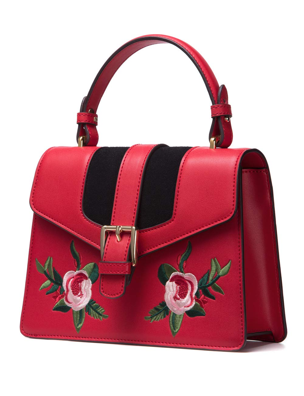 LA'FESTIN Womens Crossbody Handbags Embroidered Retro Shoulder Bag Leather Red Purse