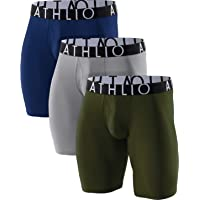 ATHLIO 3 Pack Men's Breathable Underwear, Performance Cooling Mesh Boxer Briefs, Open Fly Trunks with Pouch