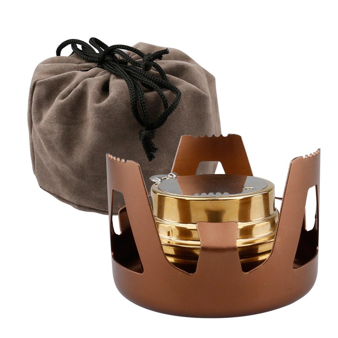 A-szcxtop Minihornillo de alcohol portátil en latón y aleación de aluminio para camping al aire libre, senderismo, mochileros, picnic, café: Amazon.es: ...