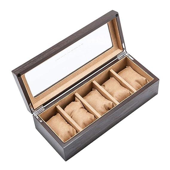 5 Compartimentos Caja De Relojes, Madera Estuche para ...