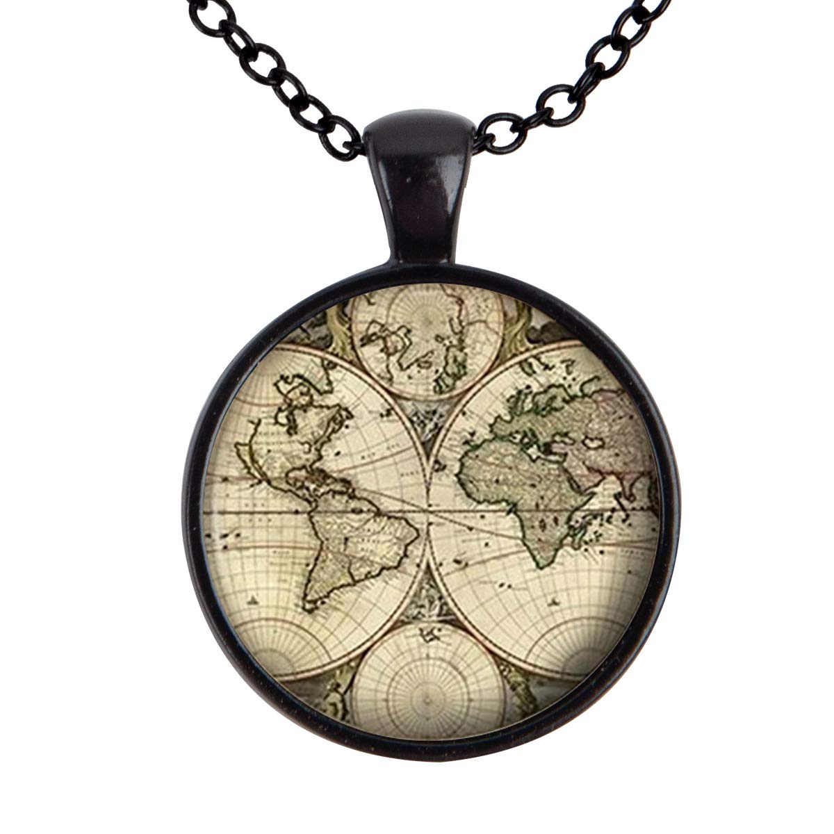 Lightrain World Map Old Antique Atlas Picture Pendant Necklace Vintage Bronze Chain Statement Necklace Handmade Jewelry Gifts