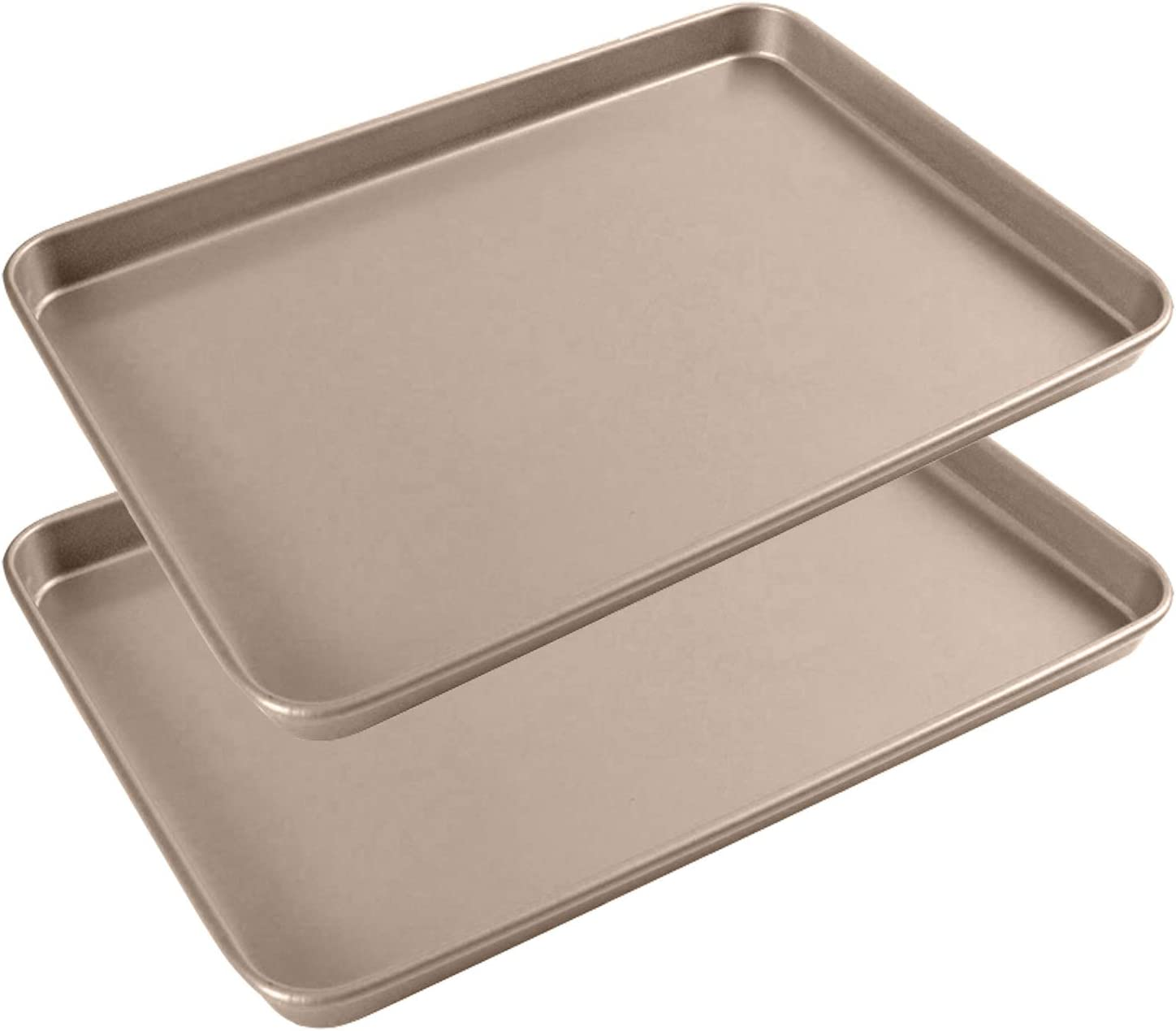 13 Inch Baking Sheets Pan Set of 2, Shinsin Nonstick Pans for Baking, Heavy Gauge Steel Cookie Sheet Sets w/Rimmed Border, 1-inch Deep Professional Reusable Baking Trays for Toaster Oven Replacement