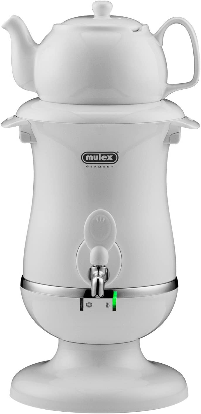 Electric Samovar With Ceramic Teapot or pot, Electric kettle Hot Tea Machine, Mulex Made In Germany (2.5 Liter, White)