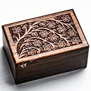 """Tree of life Rosewood Urns for Human Ashes Adult by STAR INDIA CRAFT, Dark Brown Funeral Pet Urns for Ashes, Cremation Urns box for Human Ashes Adult, Dog Urn,Memorial Keepsake Urn(Large - 9 x 6 x 5"""")"""