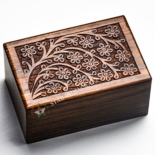 Beautifully Handmade & Handcrafted Tree of Life Engraving Wooden Human Urns for Ashes Adult by STAR INDIA CRAFT - Wooden Cremation Urns for Dogs/Cats,Engraving, Wooden Box(Large - 9 x 6 - Craft India