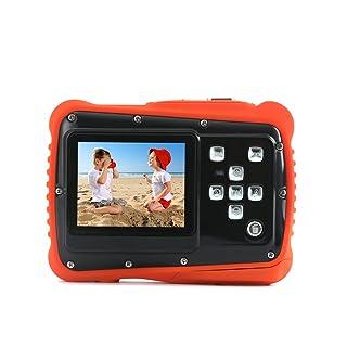 Kids Digital Camera - Waterproof to 3 Meters - HD Video Recorder and 5 Mega Pixels - Shockproof Childrens Camera (Orange)