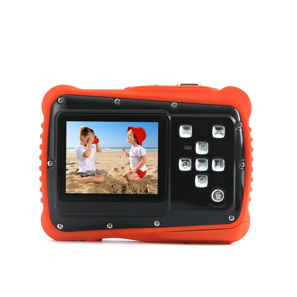 Kids Digital Camera - Waterproof to 3 Meters - HD Video Recorder and 5 Mega Pixels - Shockproof Childrens Camera (Orange) by BAVISION (Image #1)