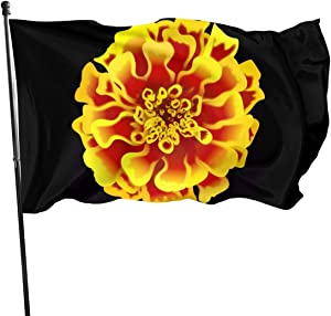 AOOEDM Marigold Flower Guard Flag 3x5ft Vivid Color for Inside/Outside Use UV Protected Guard Banner Flags