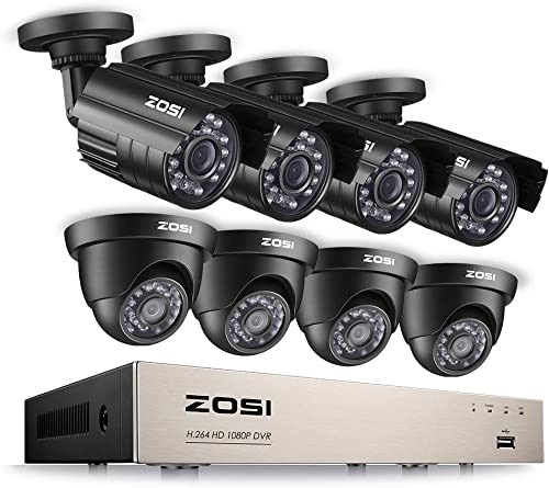 ZOSI 8CH Full 1080P HD-TVI Security Camera System Video DVR Recorder with 8 2.0MP 1920TVL Bullet Dome Weatherproof CCTV Cameras Motion Alert, Smartphone, PC Easy Remote Access NO Hard Drive