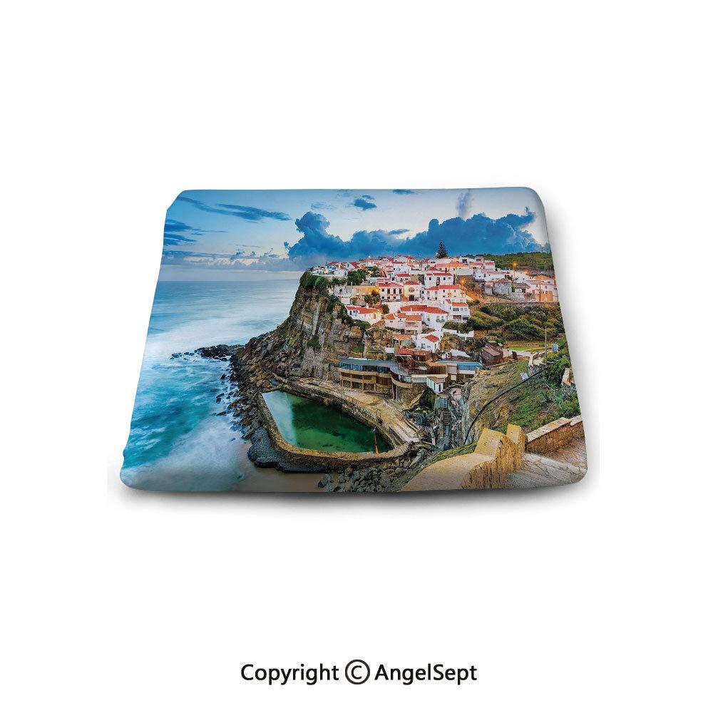 oobon Square Chair Seat Cushion for Kitchen Dining Chairs,Mediterranean,Portuguese Town Coast Azenhas do Mar Beach by Cliffs Village Shore Theme,Multicolor,Memory Butt Pad Non Slip