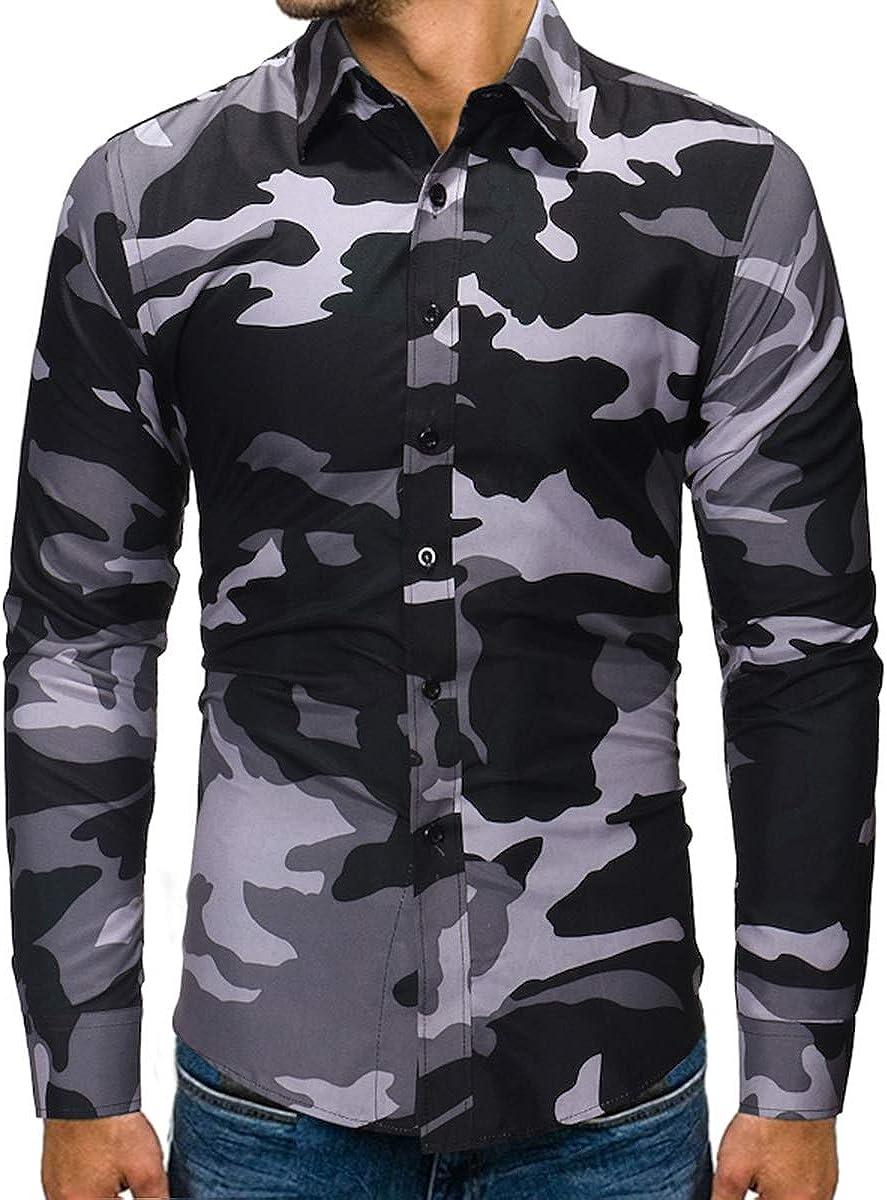 WenaZao Mens Dress Shirts Regular Fit Long Sleeve Camouflage Button Down Men Shirt