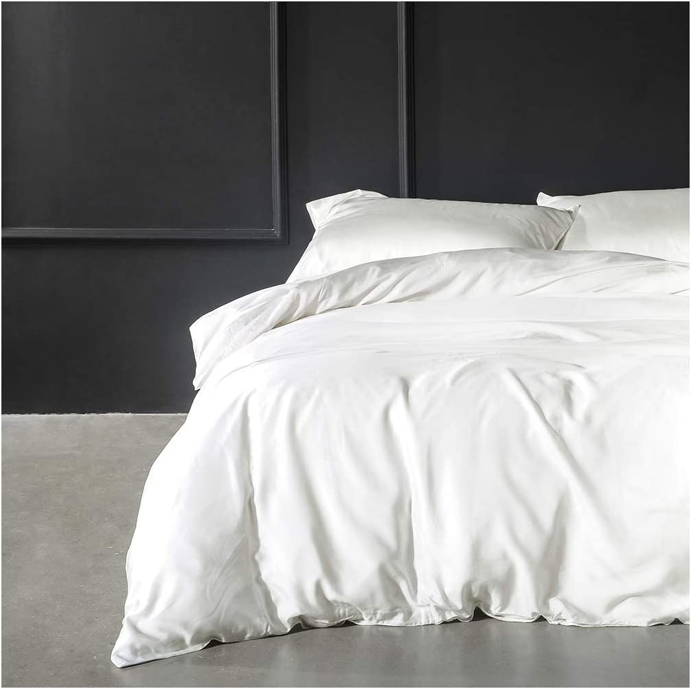 Solid Color Egyptian Cotton Duvet Cover Luxury Bedding Set High Thread Count Long Staple Sateen Weave Silky Soft Breathable Pima Quality Bed Linen (King, White)