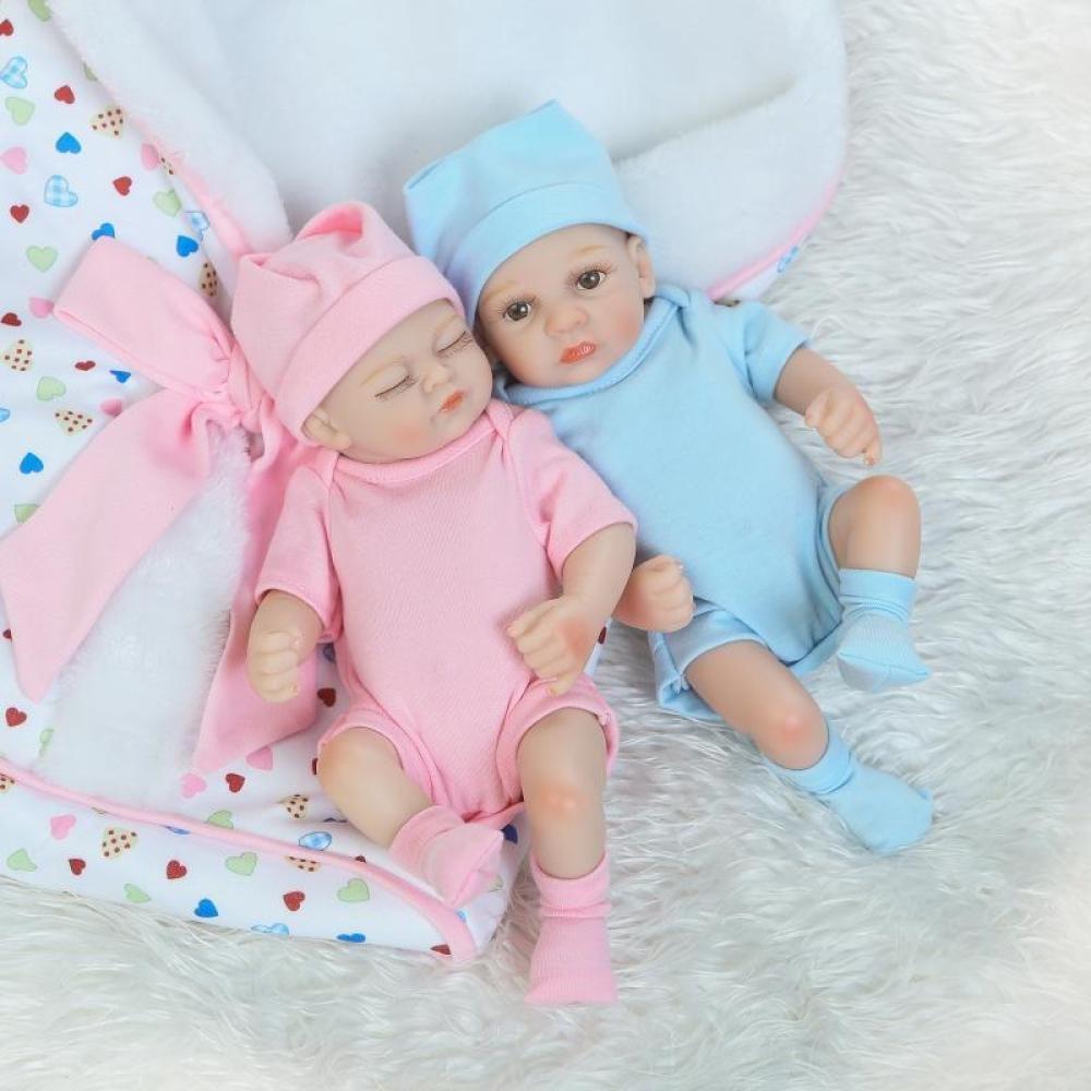 ZJX Silikon-Zwillinge der Simulationspuppe Reborn Können Das Wasserbaby-Spielwarenkinder Kreatives Persönlichkeitsgeschenk 26CM Eintragen