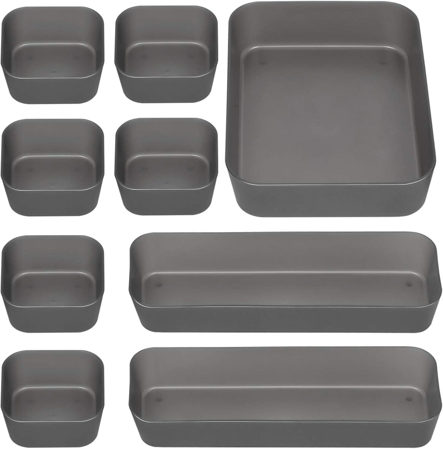 JARLINK 9 Pack Desk Drawer Organizer Trays with 3 Different Sizes, Versatile Drawer Organizers Storage for Bathroom, Makeup, Bedroom Dresser, Kitchen, Office, Craft (Black)