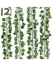 DazSpirit 12Pcs Artificial Ivy Fake Vine Leaves, 84Ft Fake Vines, Artificial Ivy Plant Garland, Greenery Garland Ivy Fake Vine Leaves, Plants Vine for Wedding, Home, Garden, Bedroom, Party Decoration