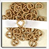 Gold Pearl Buckles Heart Shape Double Sided 10mm Ribbon Sliders Table Decorations, Card Making x 50