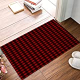 Funy Decor Personalized Door Mats Rustic Red Black Buffalo Check Plaid Pattern Doormat Ribbed Indoor Outdoor Rug for Entrance Rug Front Mats Non-Slip Mats Low-Profile 18 x 30 inch
