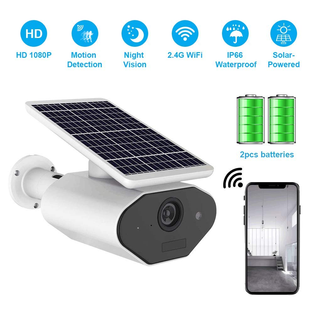Outdoor Solar Battery Power Security Camera,1080P Wireless Rechargeable Battery IP Camera with Motion Detection, IP CCTV Video Cam with Night Vision and SD Card Slot for Indoor and Outdoor Suveillance by EASEIC