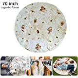 Burrito Blanket, [Upgraded Flannel] Burrito Wrap Throw Blanket - Mexico Extra Large Pizza Novelty Human Tortilla Blanket Round Shape for Adult & Kids (6 Ft, Upgraded Burrito)