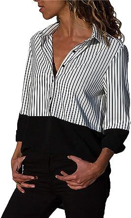 Blusas Mujer Manga Larga V-Cuello Rayas Empalme Camisa Tops ...
