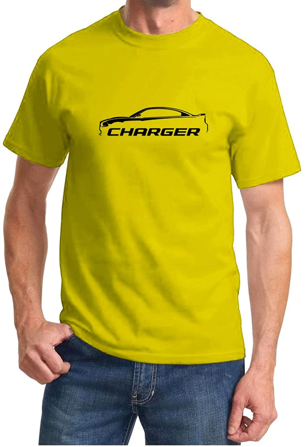 2010-14 Dodge Charger Classic Outline Design Tshirt small yellow