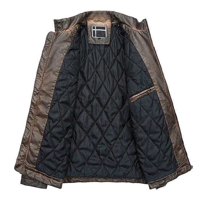 ODJOY-FAN Herren Leder Mantel Warm Lederjacke Langarm Jacke Herbst Winter  Outerwear Beiläufig Overcoat Tasche Reißverschluss Coat Thermal Leder Jacke  Oben ... df297a6ee8