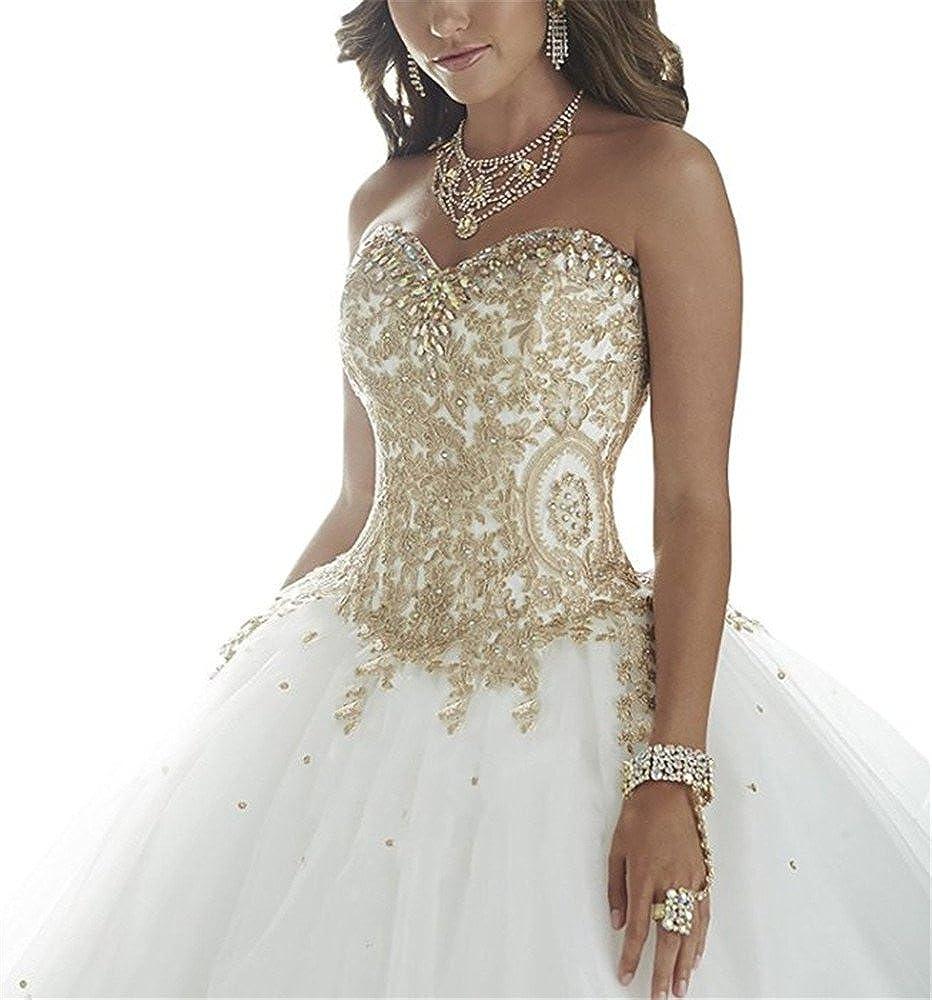 Tsbridal Gold Lace Ball Gown Wedding Dress Sweetheart Lace Up