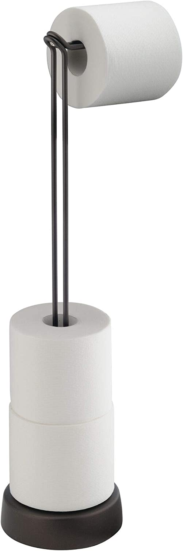 "iDesign Classico Steel Free-Standing Toilet Paper Storage Dispenser - 6.87"" x 5.62"" x 24.12"", Bronze"