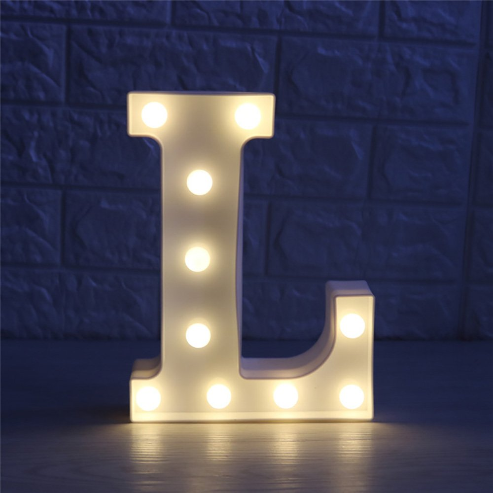 CSKB LED Marquee Letter Lights 26 Alphabet Light Up Marquee Letters Sign For Wedding Birthday Party Battery Powered Christmas Night Light Lamp Home Bar Decoration L