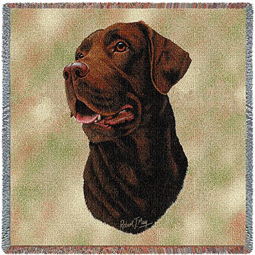 Pure Country Weavers - Labrador Retriever Chocolate Lab Dog Woven Blanket with Fringe Cotton USA 54x54