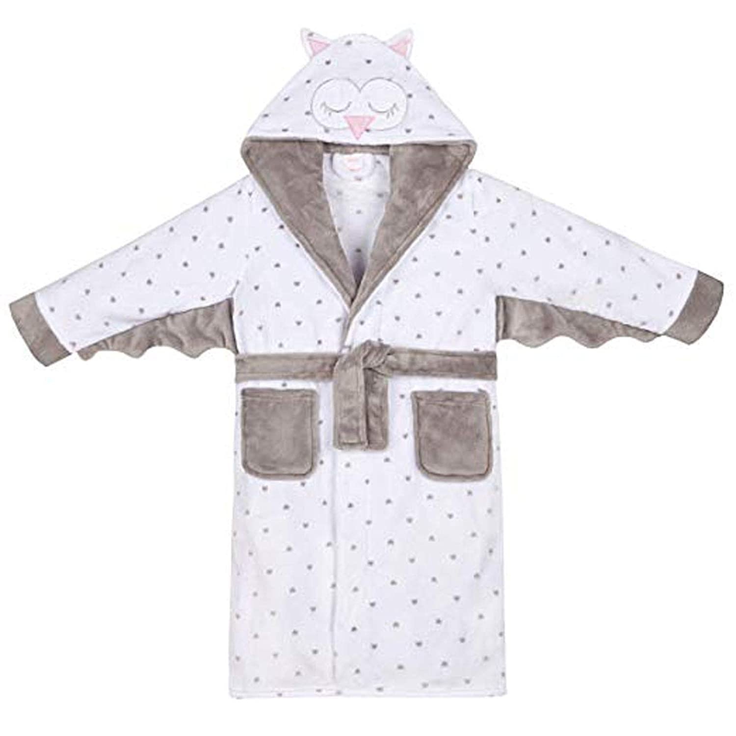 Junior Girls Soft Sleepy Owl Design Dressing Gown with Hood