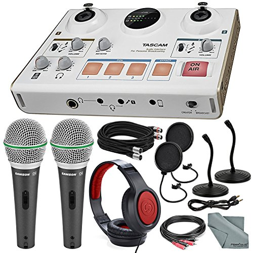 Reverb Software - Tascam US-42 MinStudio Creator Audio Interface for Podcasting W/Platinum Bundle W/Cables + 2 Samson Microphones + Headphones + Pop Filters +Goose Neck Stands + Fibertique Cleaning Cloth