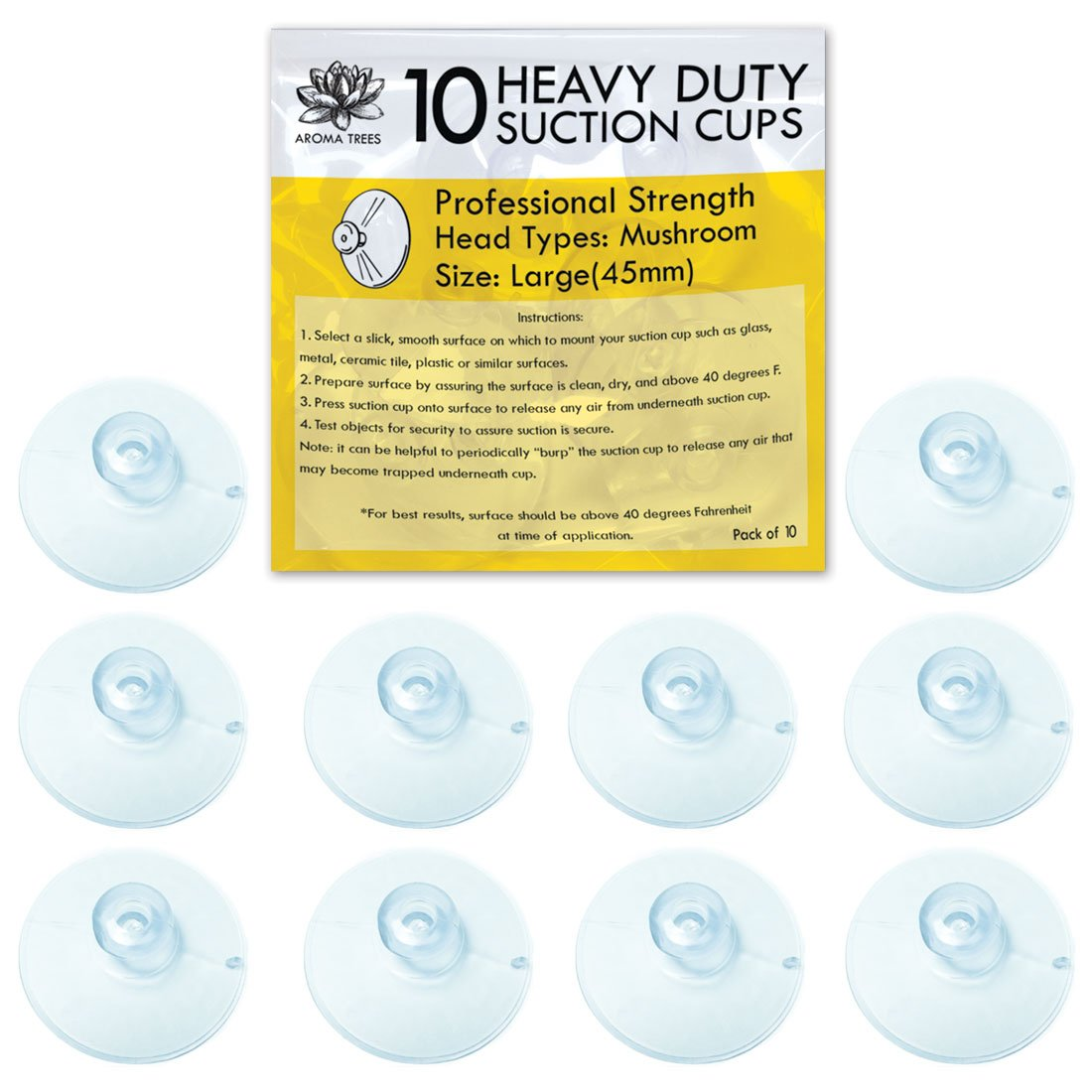 Aroma Trees Professional Strength Suction Cups 45mm (Large - 10 Packs) without Hook S10L
