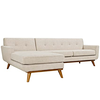 Prime Modway Engage Mid Century Modern Upholstered Fabric Left Facing Sectional Sofa In Beige Andrewgaddart Wooden Chair Designs For Living Room Andrewgaddartcom