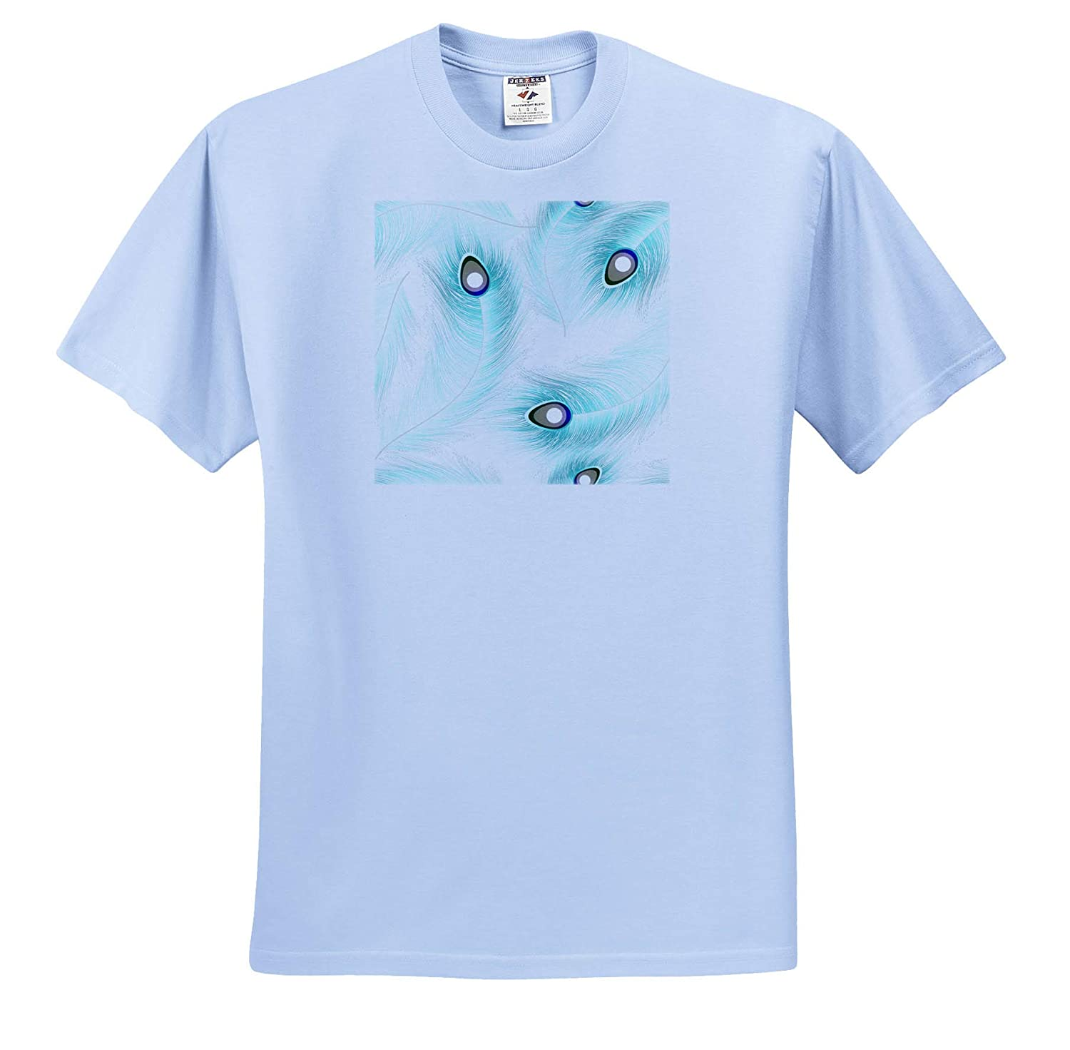 ts/_316239 3dRose Anne Marie Baugh Patterns Adult T-Shirt XL Pretty Aqua Peacock Feathers Pattern