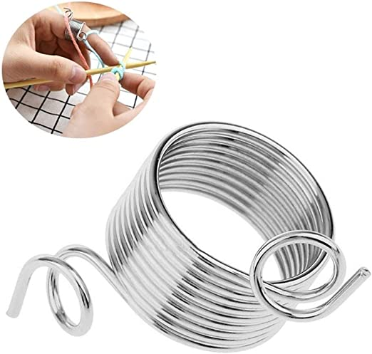2 Size Ring Knitting Tools Finger Wear Thimble Yarn Spring Guide Needle Thimblwr