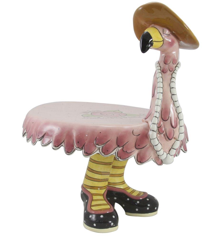 Blue Sky Ceramic Miss Precious Flamingo Footed Cake Plate