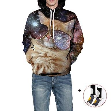 Morbuy Hombre Sudaderas con Capucha Impresas 3D con Bolsillos, Creativo Otoño e Invierno Ocio Manga Larga Hoodies Pullover Moda Tops Deportes Sweatshirt: ...