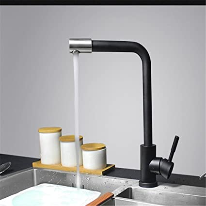 Charmant Kitchen Faucet Black Painted Color Switch Stainless Steel Kitchen Hot And  Cold Double Control Paint Faucet