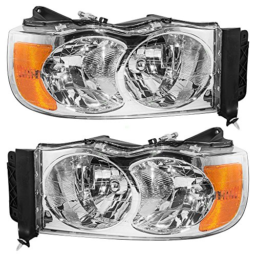 Headlights Headlamps Driver and Passenger Replacements for Dodge Pickup Truck 55077121AF 55077120AG