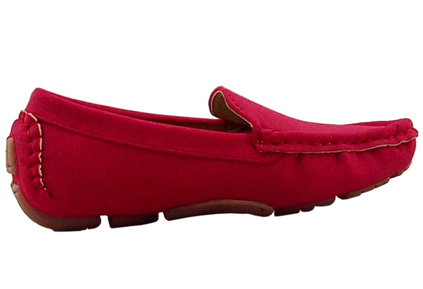 DADAWEN Girl's Boy's Suede Slip-on Loafers Oxford Shoes Red US Size 6.5 M Toddler by DADAWEN (Image #4)