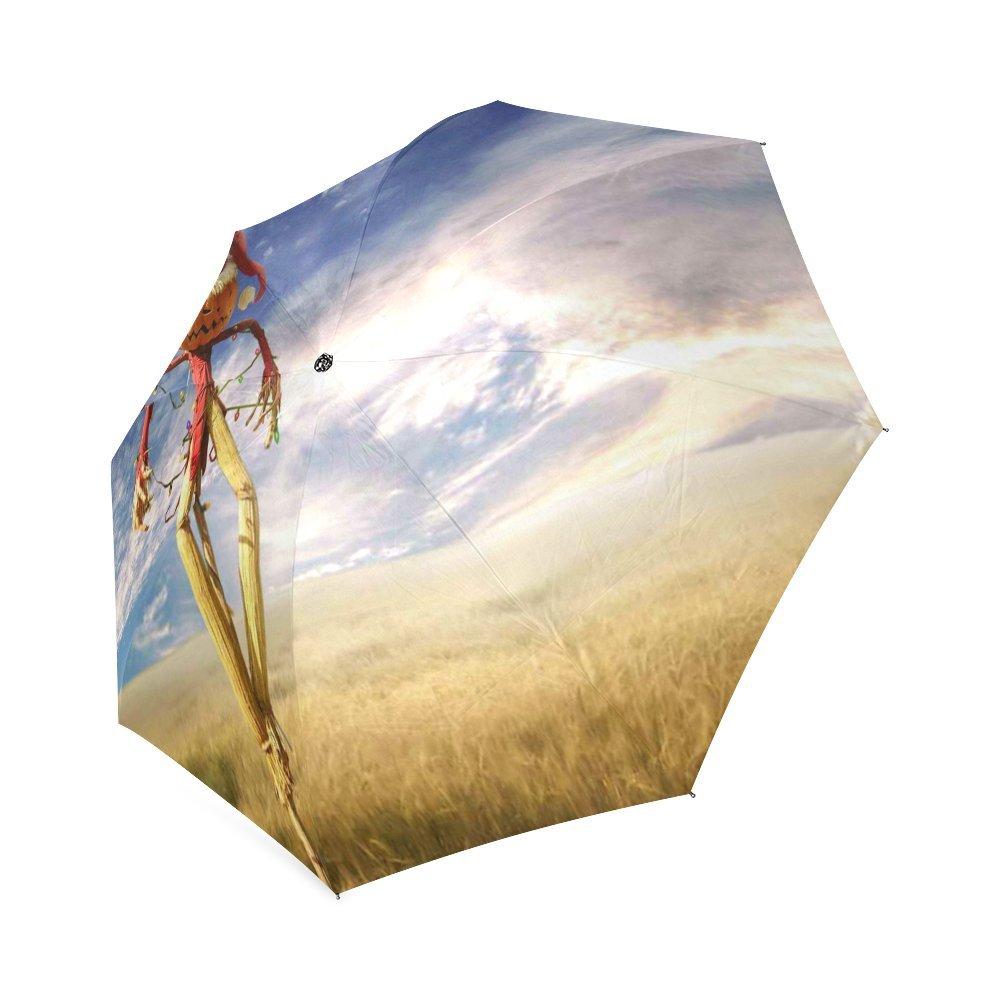 カスタマイズUnique Sunflower Scarecrow折りたたみ雨傘/パラソル/太陽傘 B076BR5JNJ