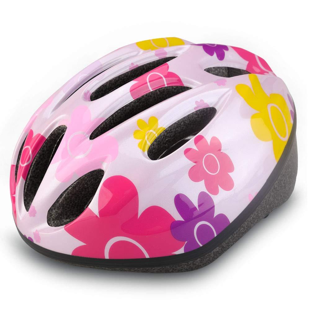 Dostar Kids Bike Helmet, CPSC Certified Lightweight Impact Resistance Adjustable Helmet for Ages 5-14, Multi-Sports Safe Durable Comfortable Bicycle Skateboard Helmets (Sunflower-pink2)