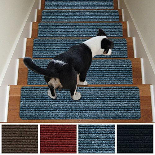 Stair Treads Non-Slip Carpet Indoor Set of 13 Grey Carpet Stair Tread Treads Stair Rugs Mats Rubber Backing (30 x 8 inch),(Grey, Set of 13)