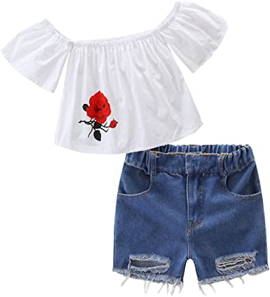 MetCuento Little Baby Girls Outfits Summer Letter Floral Pattern T-Shirt Tank Tops Bowknot Skirt Dress Set 1-7 Years