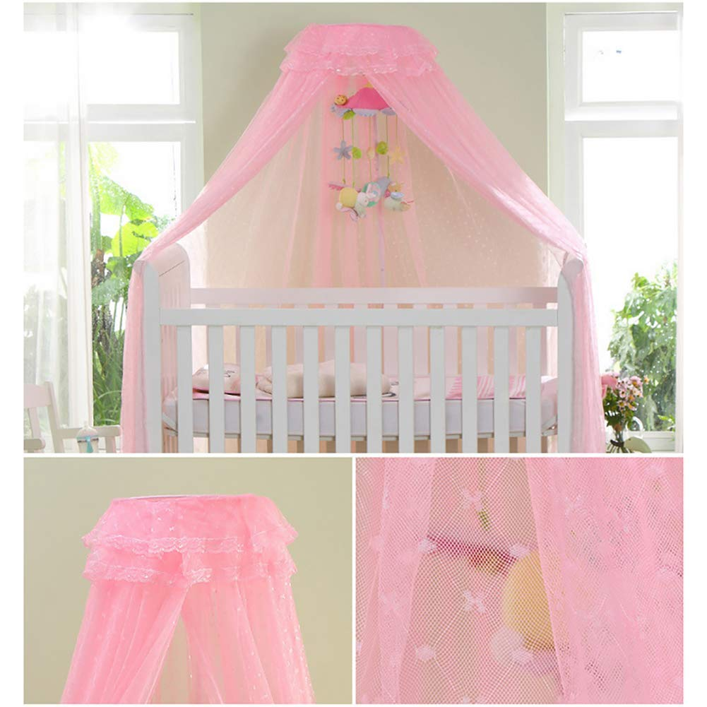 DL1961 Height Adjustable Child Mosquito net Easy Installation Polyester Baby Crib Mosquito Net for cots,Pink,A