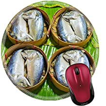 Liili Round Mouse Pad Natural Rubber Mousepad IMAGE ID: 14236818 steamed fish Thai style Steamed fish in a wicker basket placed on a banana leaf