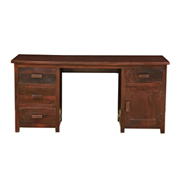 homescapes large mangat solid dark oak shade computer desk 100 rh amazon co uk wooden office desks neptune wooden office desks for home project x