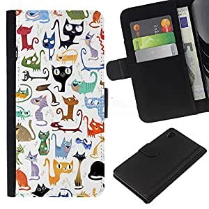 Abstract Cat Pattern White Kittens - la tarjeta de Crédito Slots PU Funda de cuero Monedero caso cubierta de piel Sony Xperia Z4v / Sony Xperia Z4 / E6508